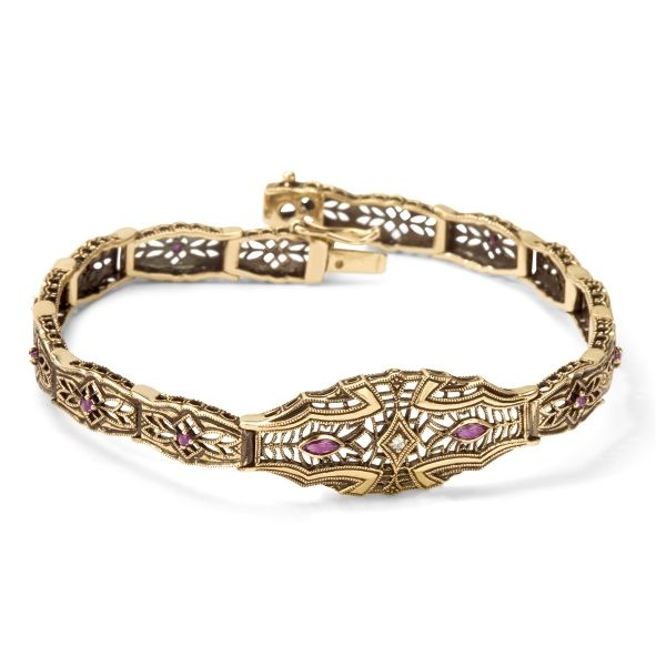 Kolekcja Wiktoriańska - bransoletka z brylantem i rubinami