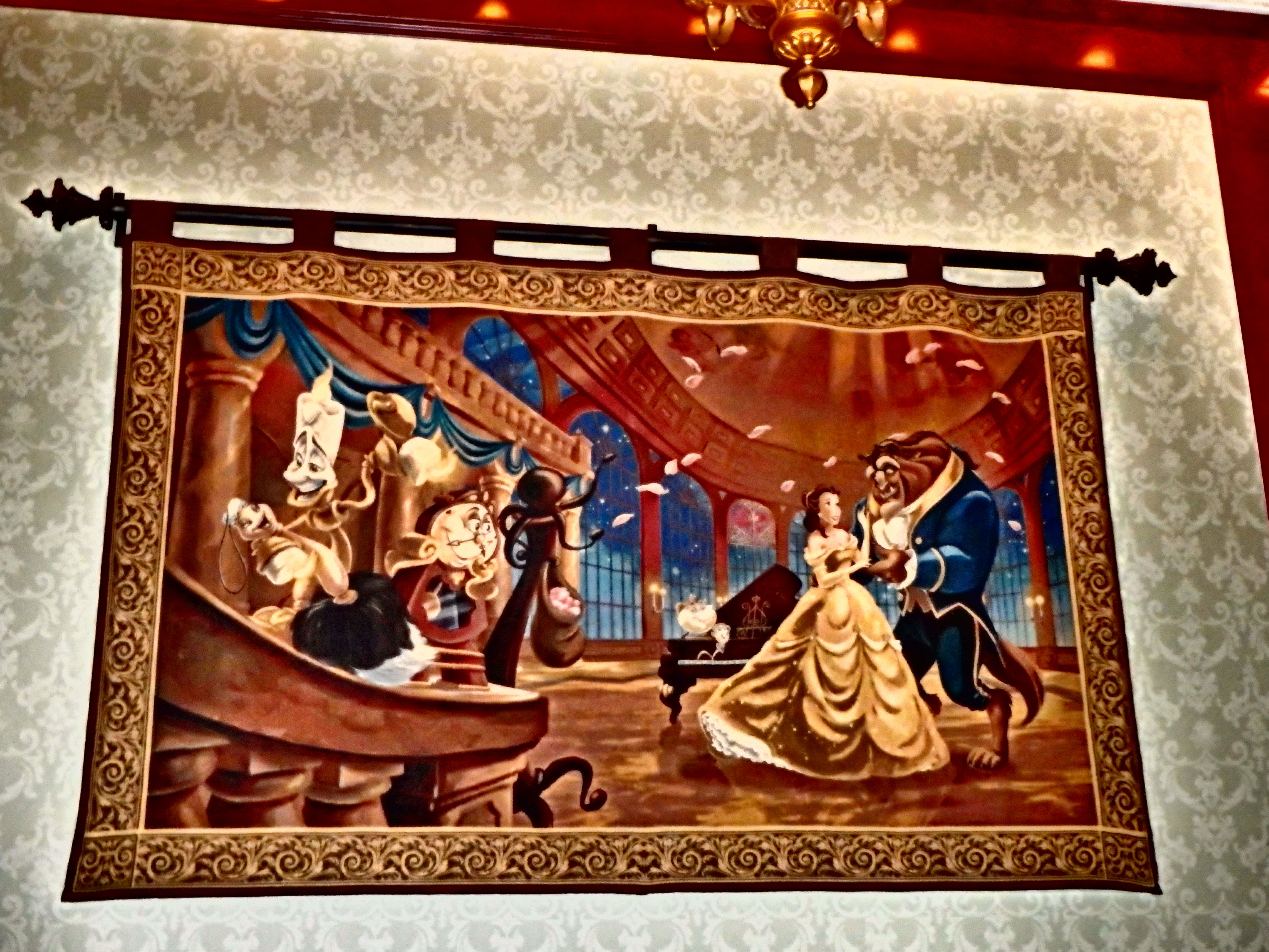 Beauty And The Beast Tapestry Inside Be Our Guest Restaurant In Disney World Fantasy Land Disney Magic Disney World Fantasyland