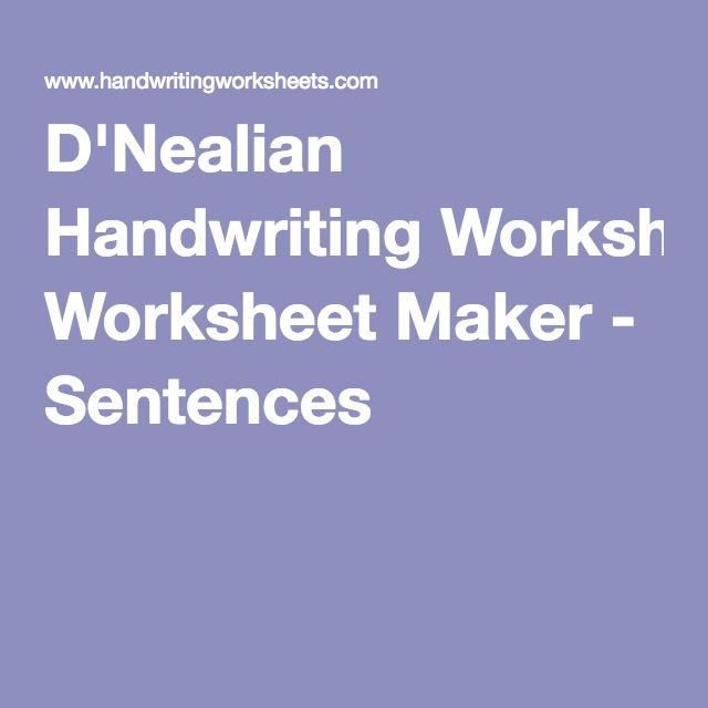 DNealian Handwriting Worksheet Maker Sentences – D Nealian Handwriting Worksheet