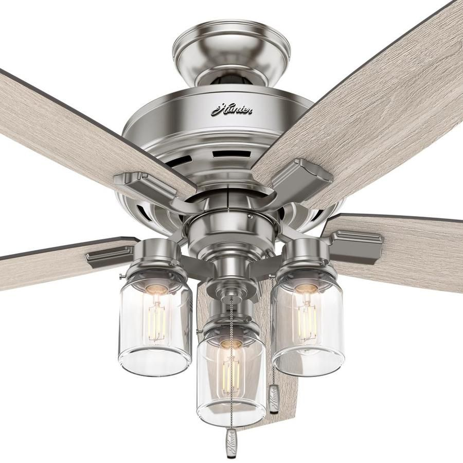 Hunter Lincoln Edison Style Led 52 In Brushed Nickel Led Indoor