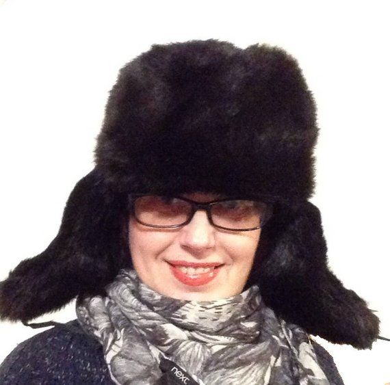 dbc5329ebc2ec Russian black hat Ushanka, natural bunny fur, Soviet winter rabbit ...