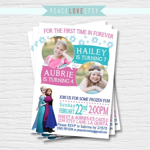 frozen joint photo birthday invitation