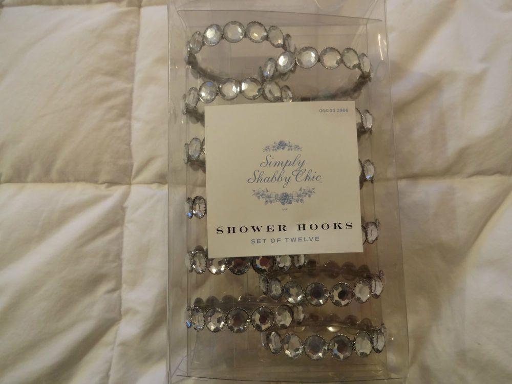 Details About Rachel Ashwell Clear Rhinestone Shower Curtain Hooks