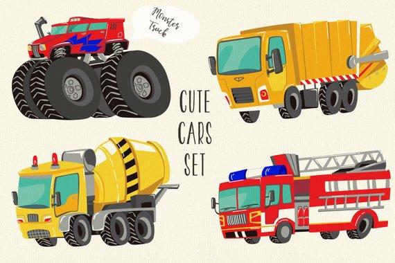 Cars And Trucks Clipart Fire Truck Clipart Monster Truck
