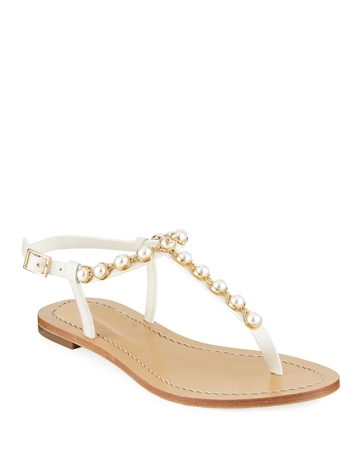 493257770c Emmy Pearly Beaded Flat Sandals Tory Burch Emmy Pearly Beaded Flat Sandals  Pearl Sandals, Flat