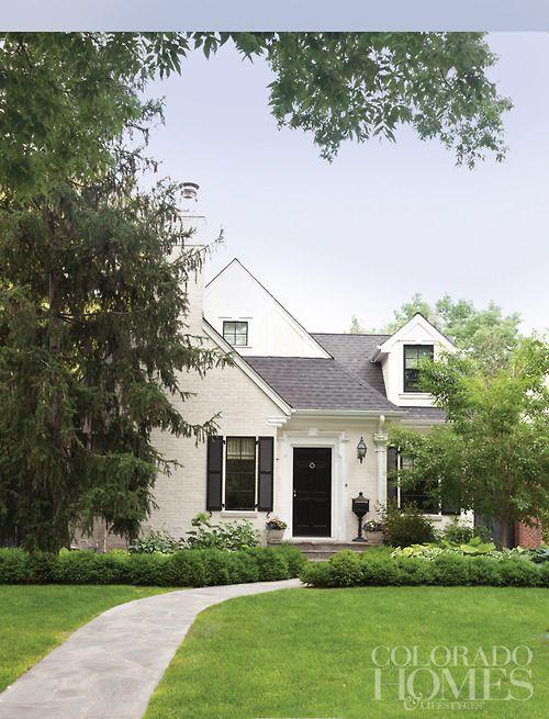 Designer Amy Corriganu0027s Cherry Hills cottage Denver. White painted brick black front door and shutters. & Designer Amy Corriganu0027s Cherry Hills cottage Denver. Colorado Homes ...