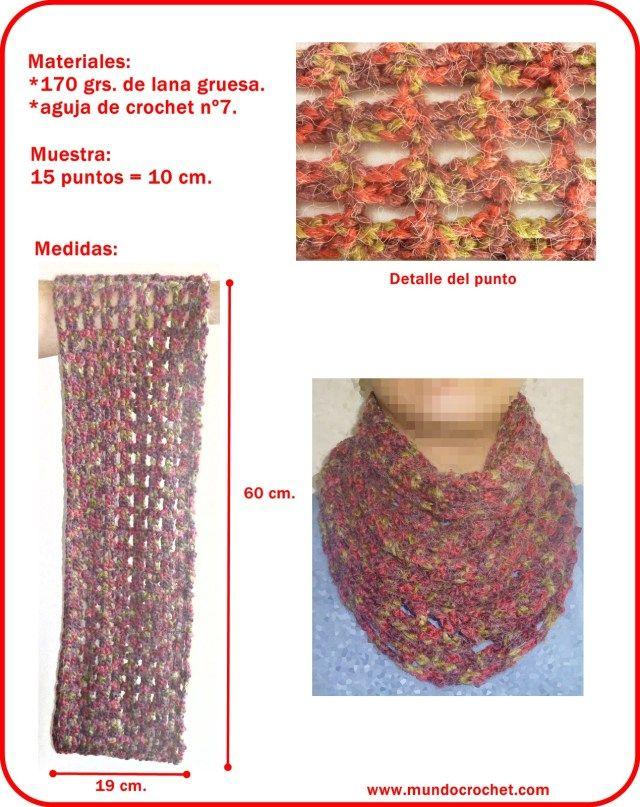 Patron bufanda infinita a crochet o ganchillo | tejido | Croché ...