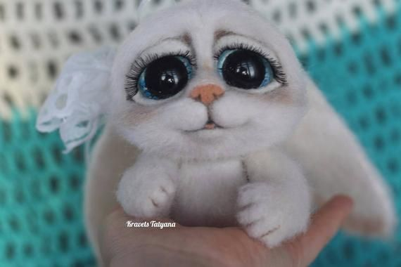 Needle felted bunny, Needle felted toy, Felted bunny, Cute animals, wool figurine bunny, Teddy bunny #needlefeltedbunny