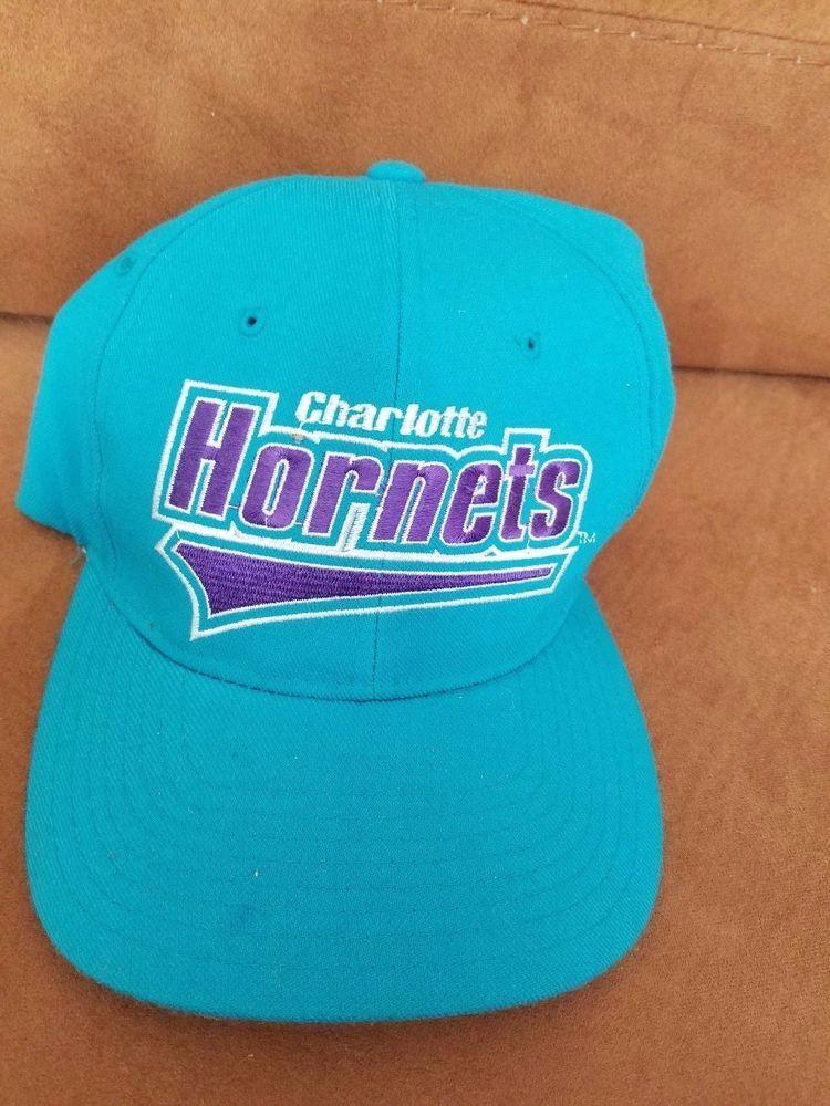 e1292e20fc7 Vtg Starter Charlotte Hornets Hat NBA Basketball size2 fitted Cap  Starter   CharlotteHornets Script