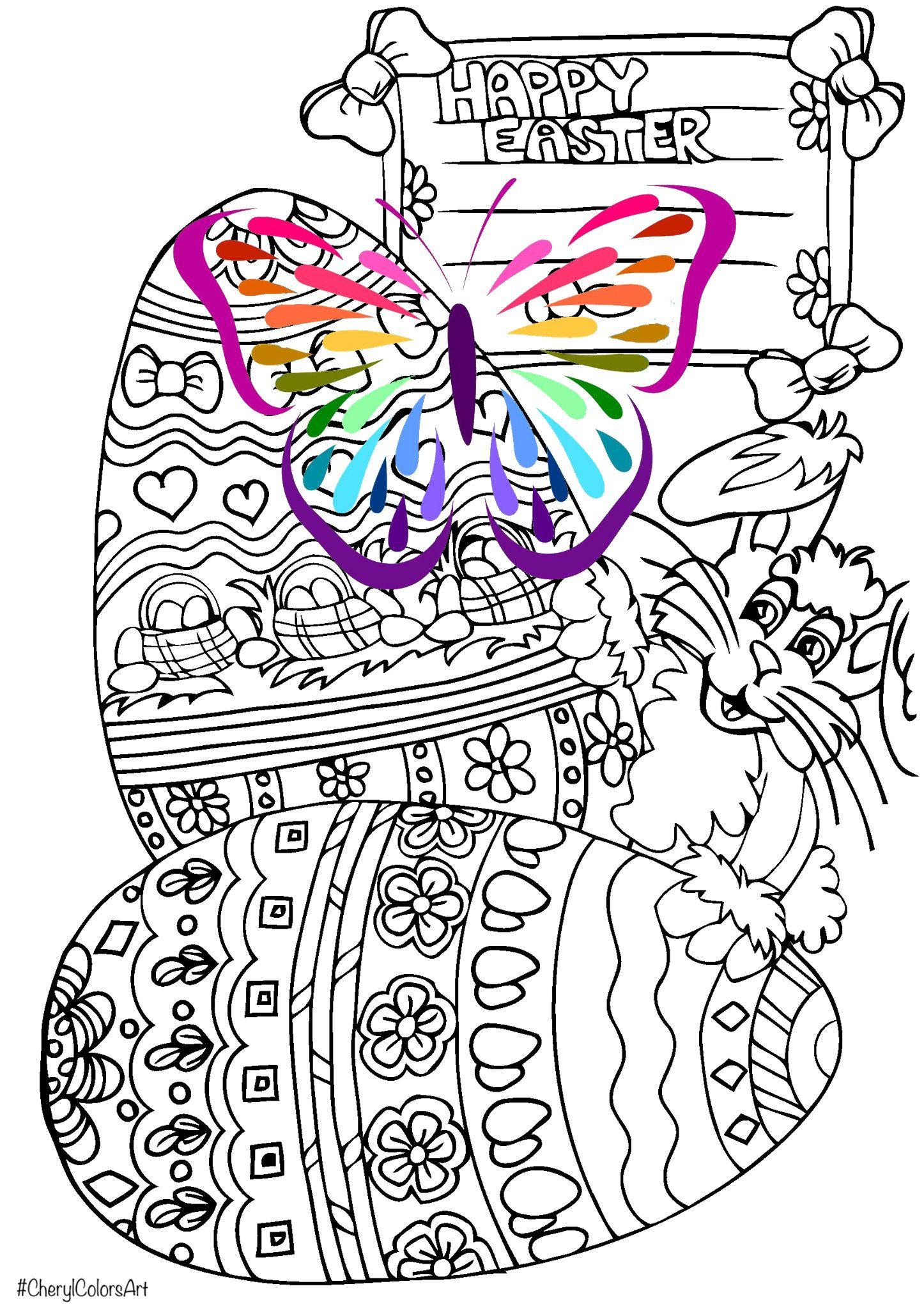 Easter Egg Bunny Rabbit Digital Coloring Page Digital Holiday ...
