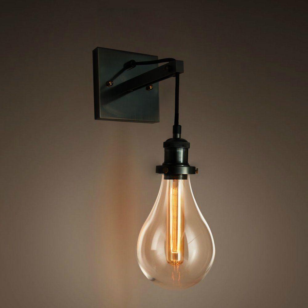 Purelume Retro Industrial Tearbulb Wandleuchte Wandlampe Mit Glaskuppel Und Edison T18 Tube 40w Gluhbirne Amazon De Beleuchtung Wandlampe Lampen Wandleuchte