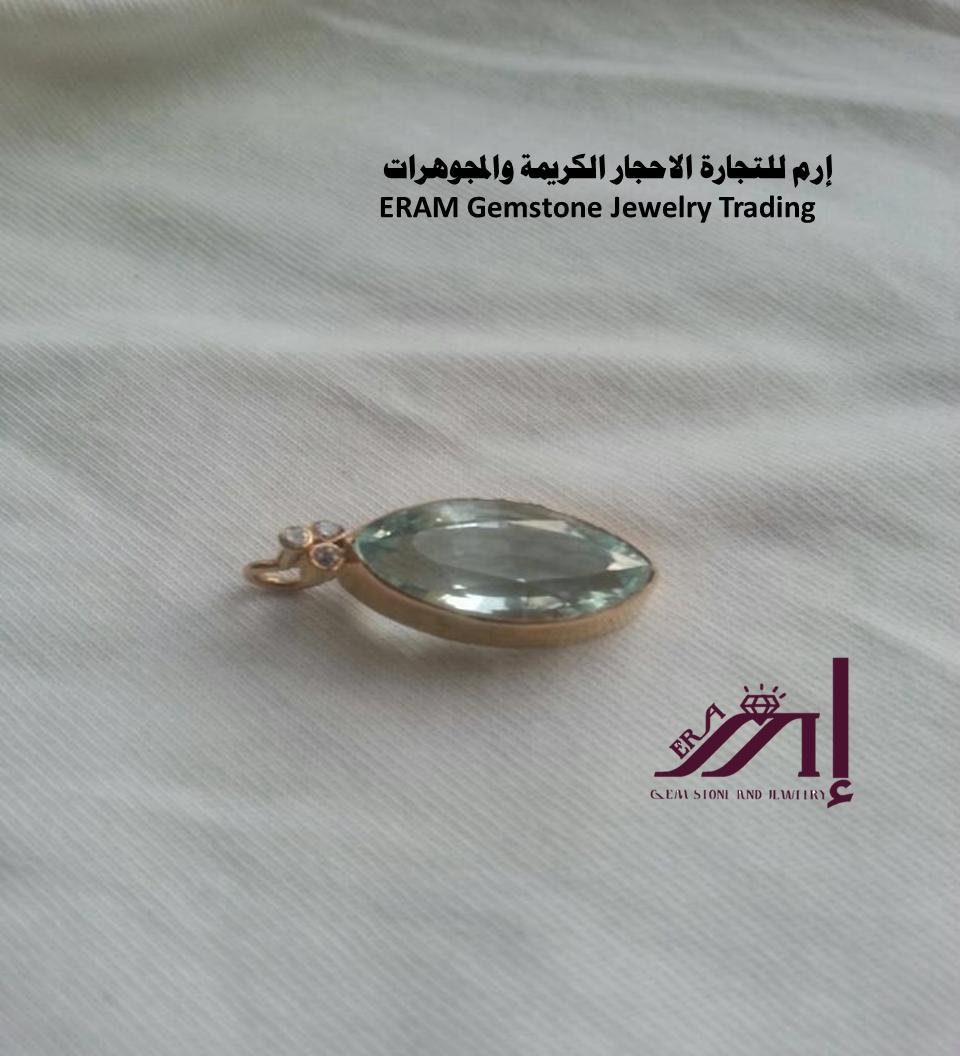 قلادة ذهب زمرد ريحاني اوكمارين والماس طبيعي 100 Aquamarine Diamond Gemstone Rings Gemstone Jewelry Gemstones