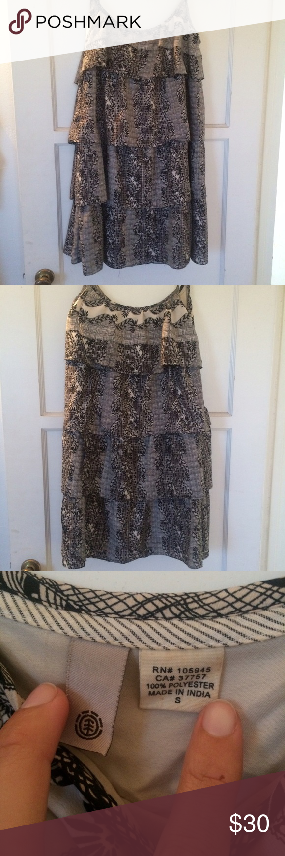 Lbd black and white patterned dress Small Ezekiel mini dress with spaghetti straps and ruffled layers Ezekiel Dresses Mini