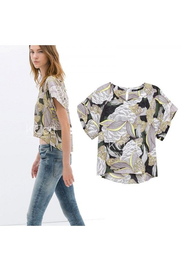 KCLOTH Bohemian Floral Printed Jersey Top  T1691