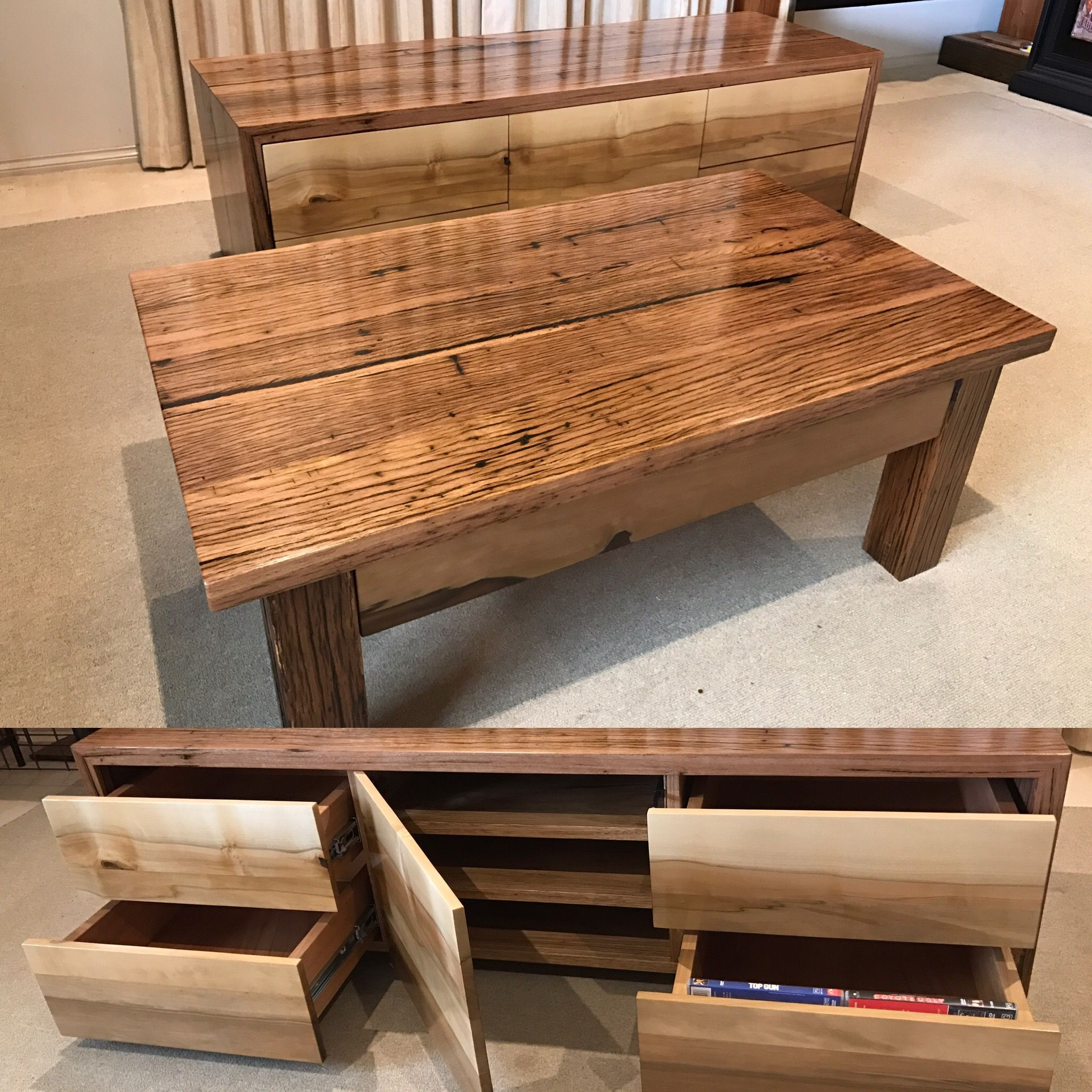 recycled wooden furniture. Recycled Hardwood Timber TV Unit \u0026 Matching Coffee Table With Black Heart Sassafras Fronts Rails Wooden Furniture