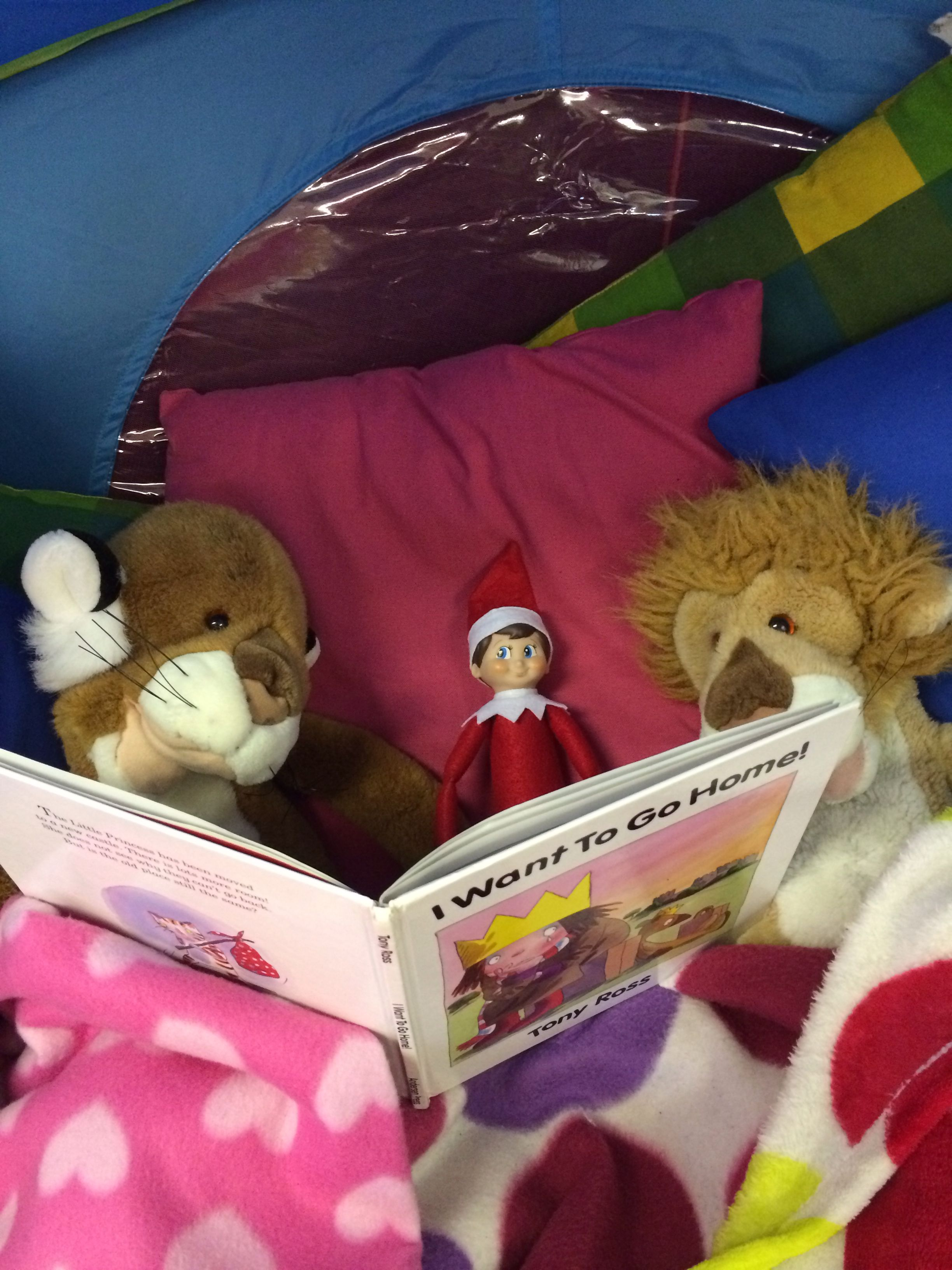 Sharing a book. Elf on the shelf ideas