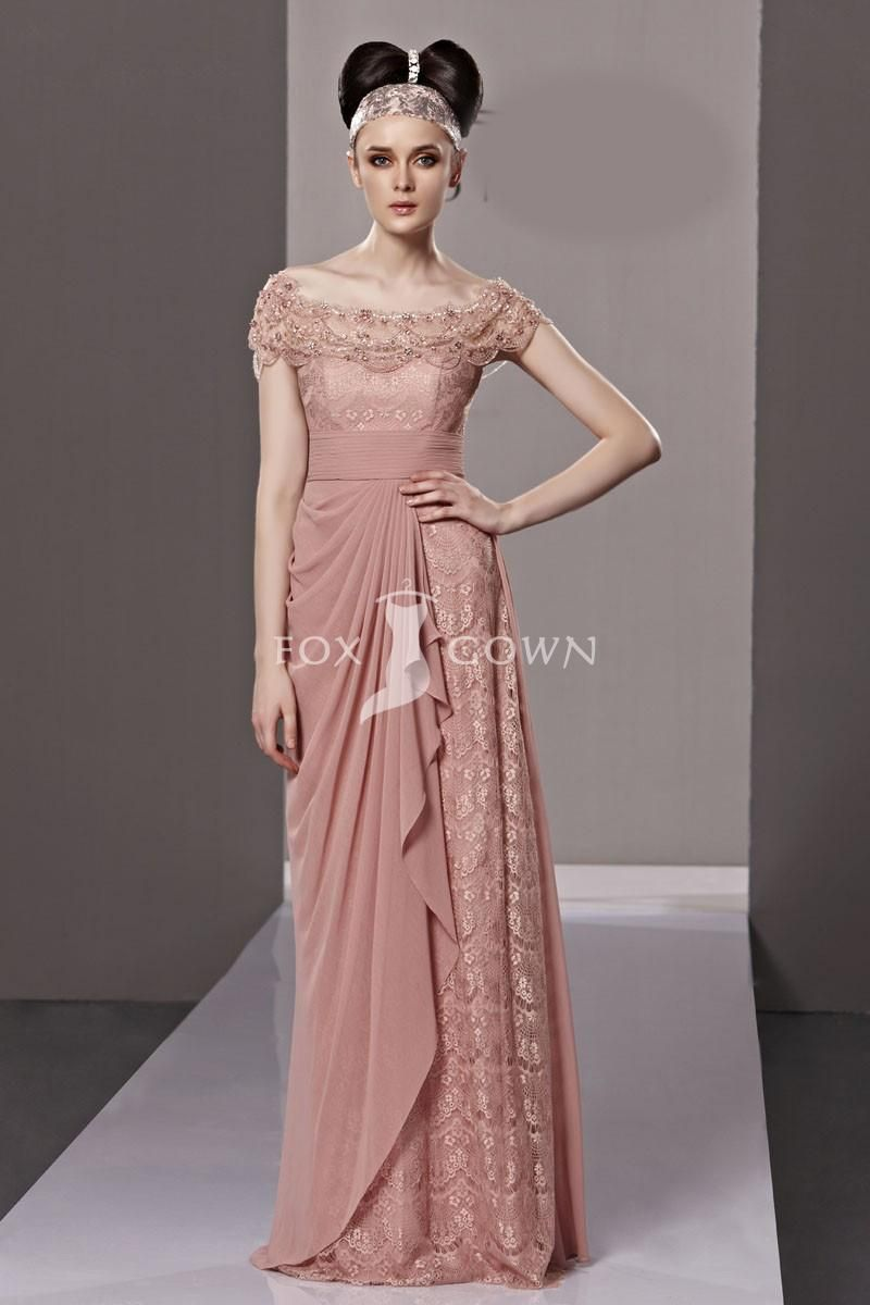 Rose lace bodice sheath off shoulder long formal dress with ruffle