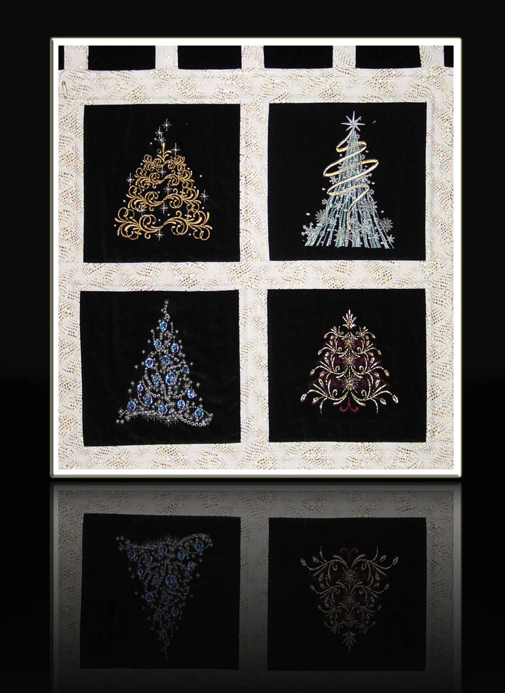 Christmas Tree Wall Decor Christmas Gift Embroidered Sparkly Metallic 4 Tree Designs 20 X20 Handmade Designed By Mary Brader 527 Christmas Wall Decor Tree Wall Decor Handmade Christmas Tree