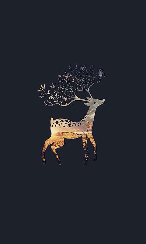 Deer wallpaper •cute •autumn •winter •iphone •background •black •orange