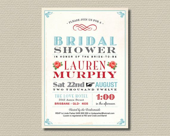 printable bridal shower invitation party pack  vintage rose red, invitation samples