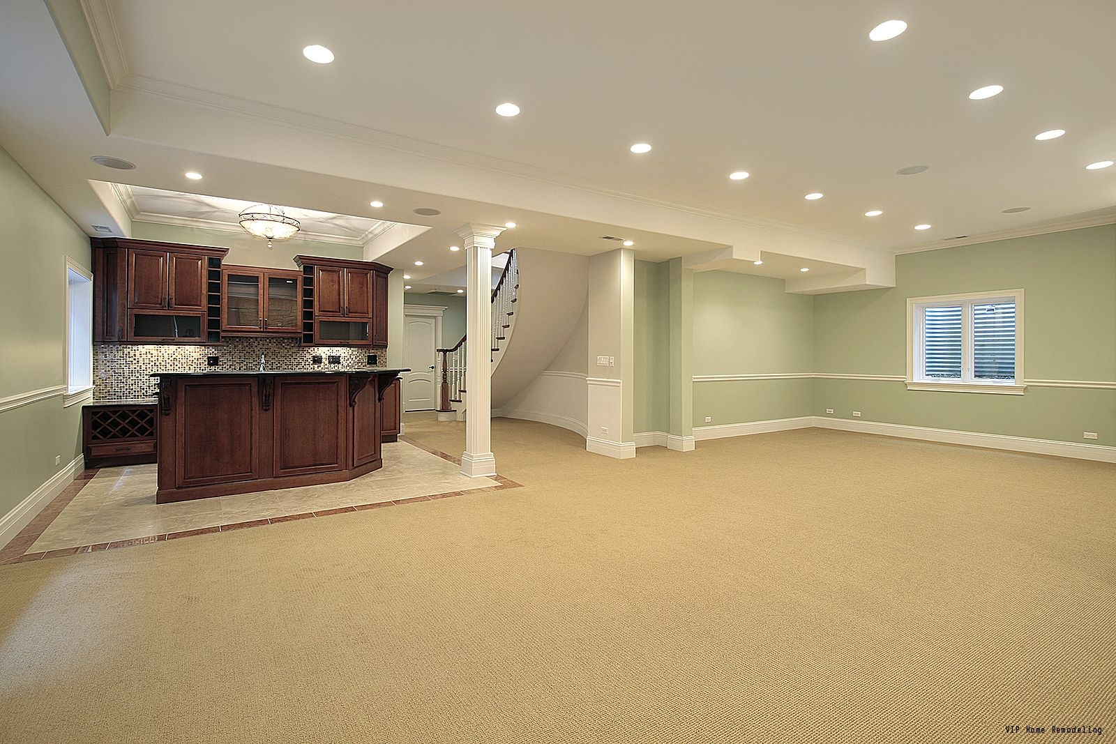 A Huge Basement With Plenty Of Space For Furniture And It