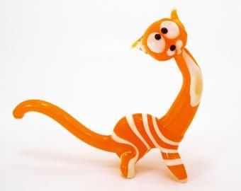 Orange Glass Cat Figurine Fused Glass Cat Sculpture Cat Figurine Blown Glass Cat
