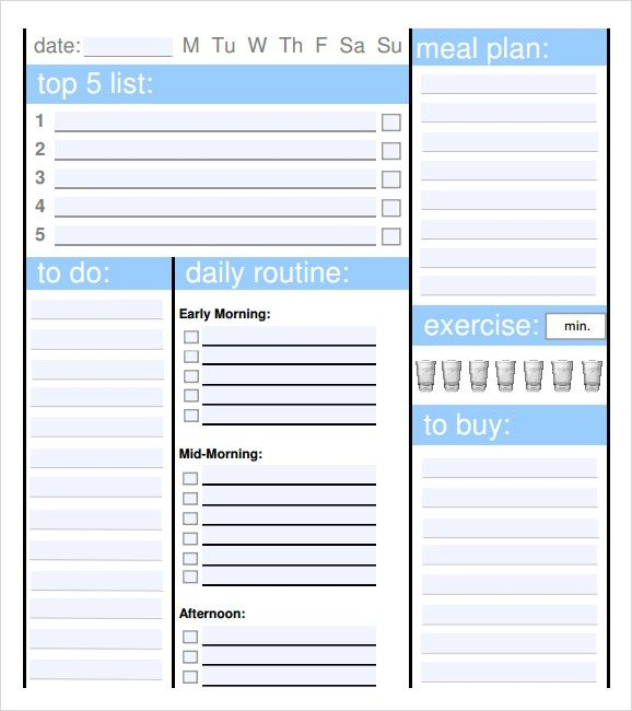 Sample-daily-planner-template-image-333jpg (578×650) Wall - daily planner sample