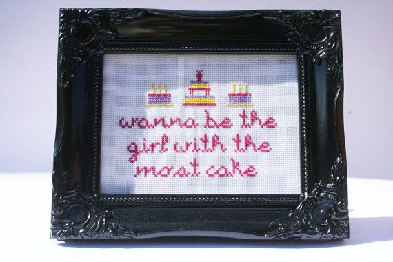 Girl With the Most Cake Cross Stitch Sampler by neonpegg on Etsy, $21.00