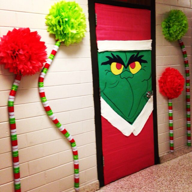 The grinch classroom door do this on my principal 39 s Class door winter decorations