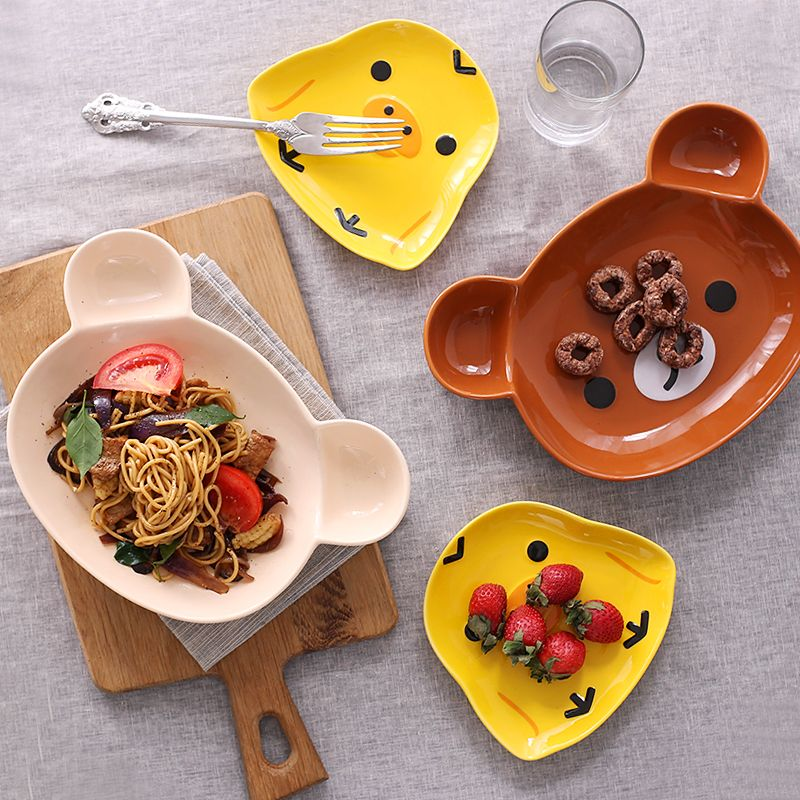 Baby Fashion Ceramic Tableware Baby Infant Feeding Plate Kid Fruit Dishes Animals Cartoon Children In Dishes From Mot Dinner Tray Fruits For Kids Fruit Dishes