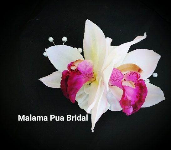 Tropical Hair Clip White Silk Orchid Hair Flower Bridal Clip Hairpiece Wedding Headpiece Hawaiian Hair Ac Bridal Clip Flowers In Hair Bridal Hair Flowers