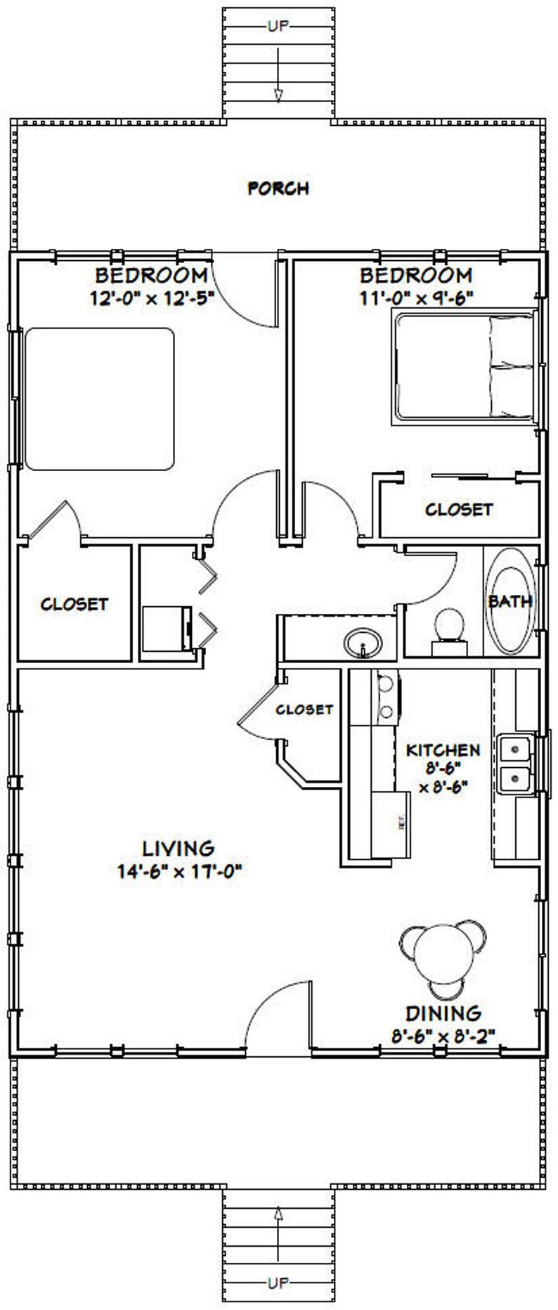 24x36 House 2 Bedroom 1 Bath 864 Sq Ft Pdf Floor Plan Etsy In 2020 Small House Plans Small House Floor Plans Bedroom House Plans