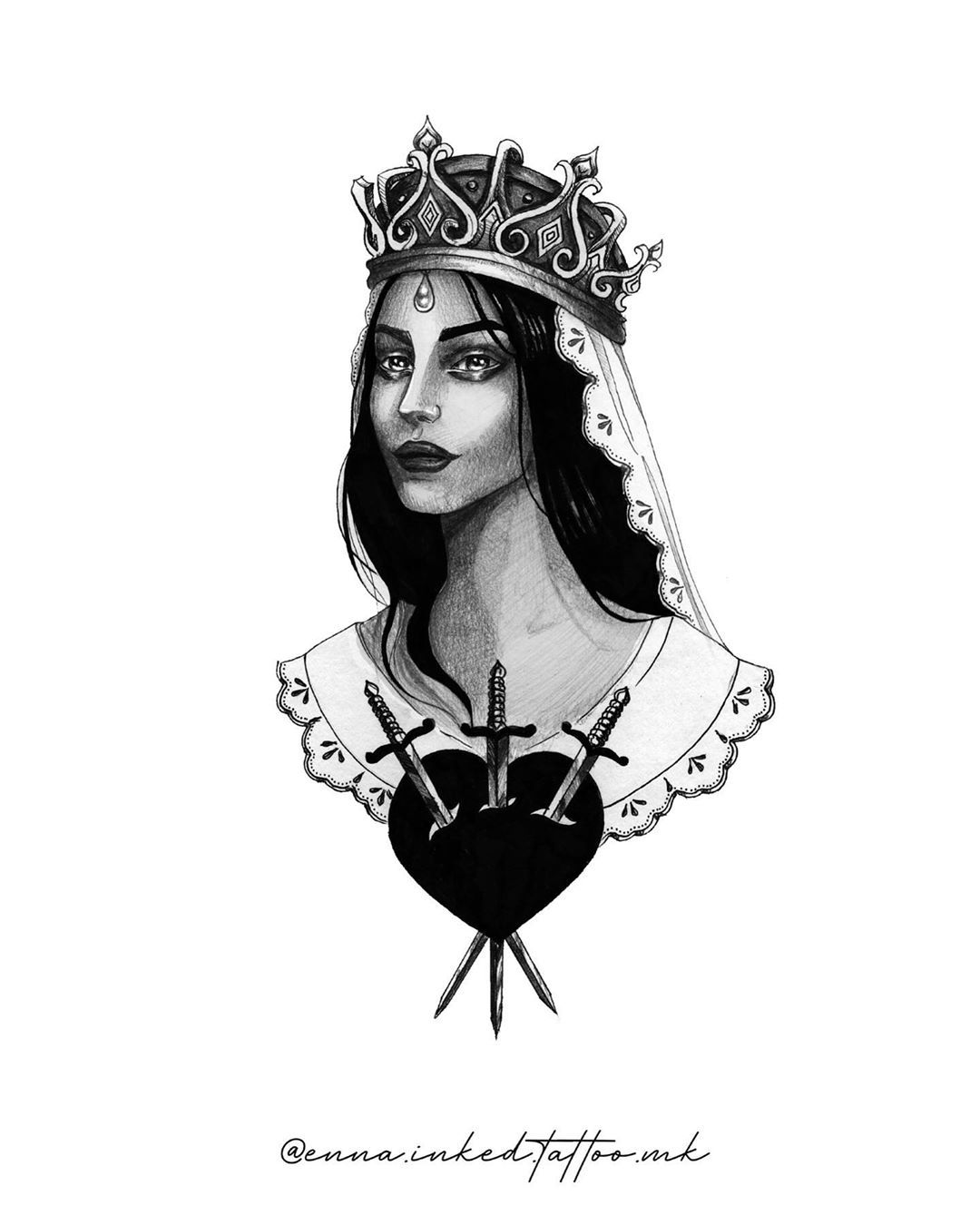 Tattoo design by @enna.inked.tattoo.mk  This design is ready to be booked for tattoo, DM for more info. . #staedtler #ink #blackink #tattoo #tattoodesign #rosettetattoo #portraittattoo #witchy #tattooartist #skopje #lineworktattoo #lineworktattoo #art #drawing #queen #queendrawing #queentattoo #heart #daggertattoo #crown #royal #neotraditionaltattoo #design