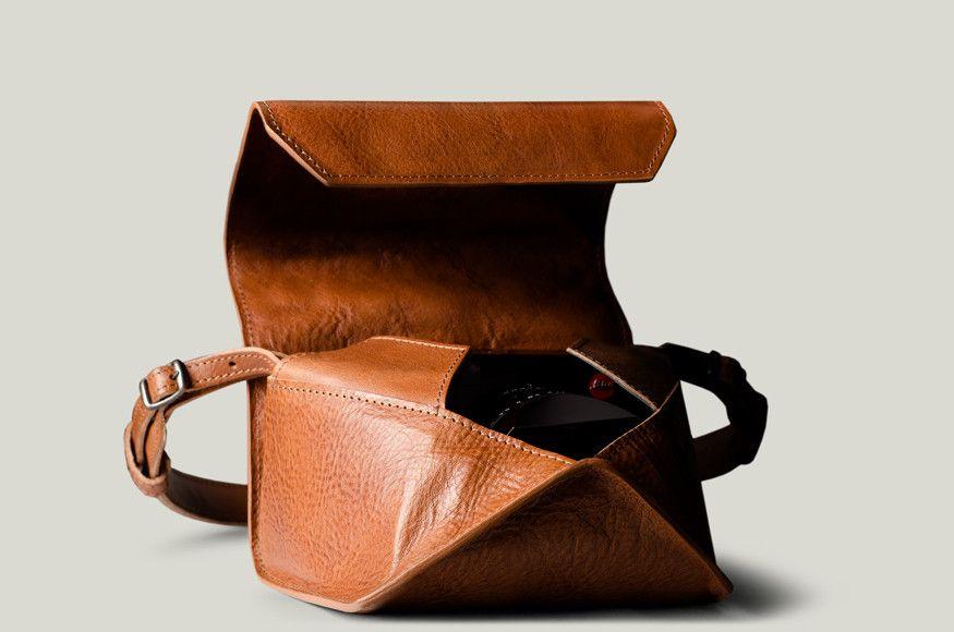 Handmade Genuine Real Leather Half Camera Case Bag Cover for Leica cm Dark Brown