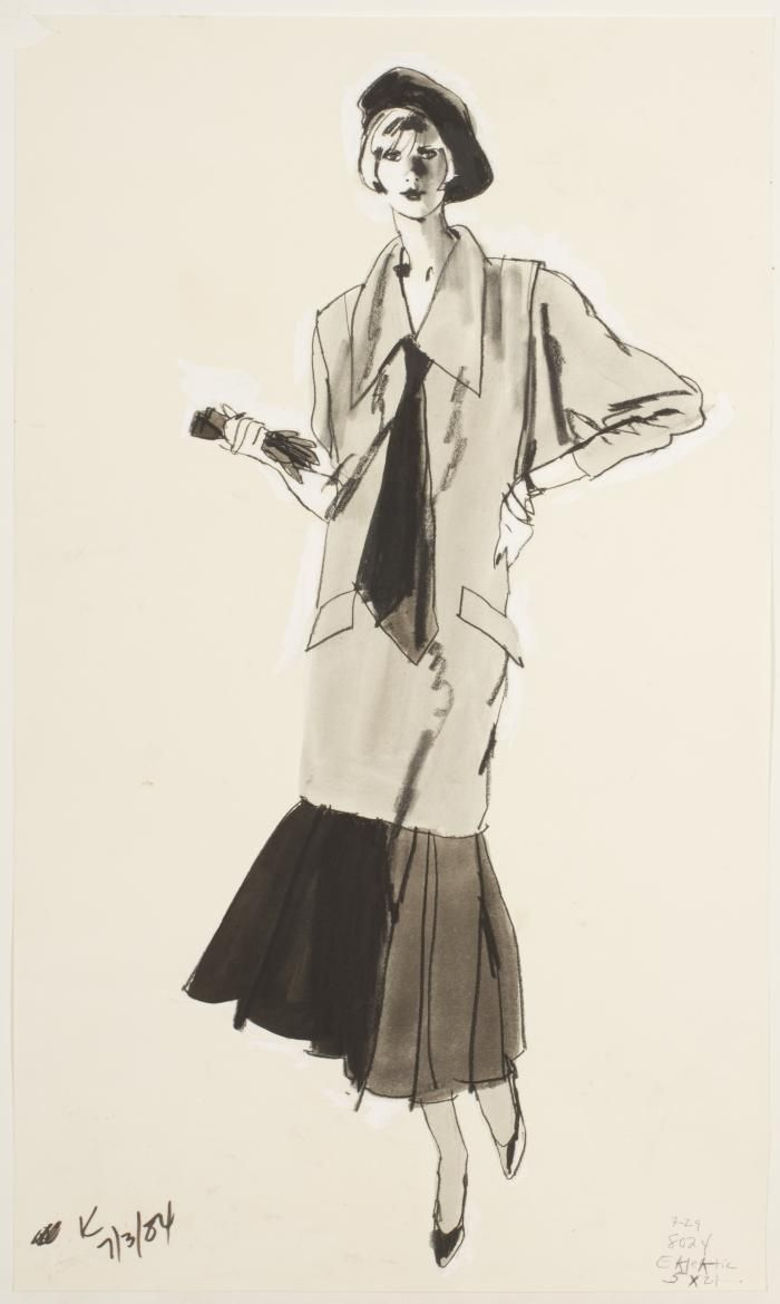 New School Archives: Digital Collections: Drawing/Painting/Print: Schoolgirl Dress with Exaggerated Drop Waist and Oversized Collar [KA002201_OSxxx1_f04_12]