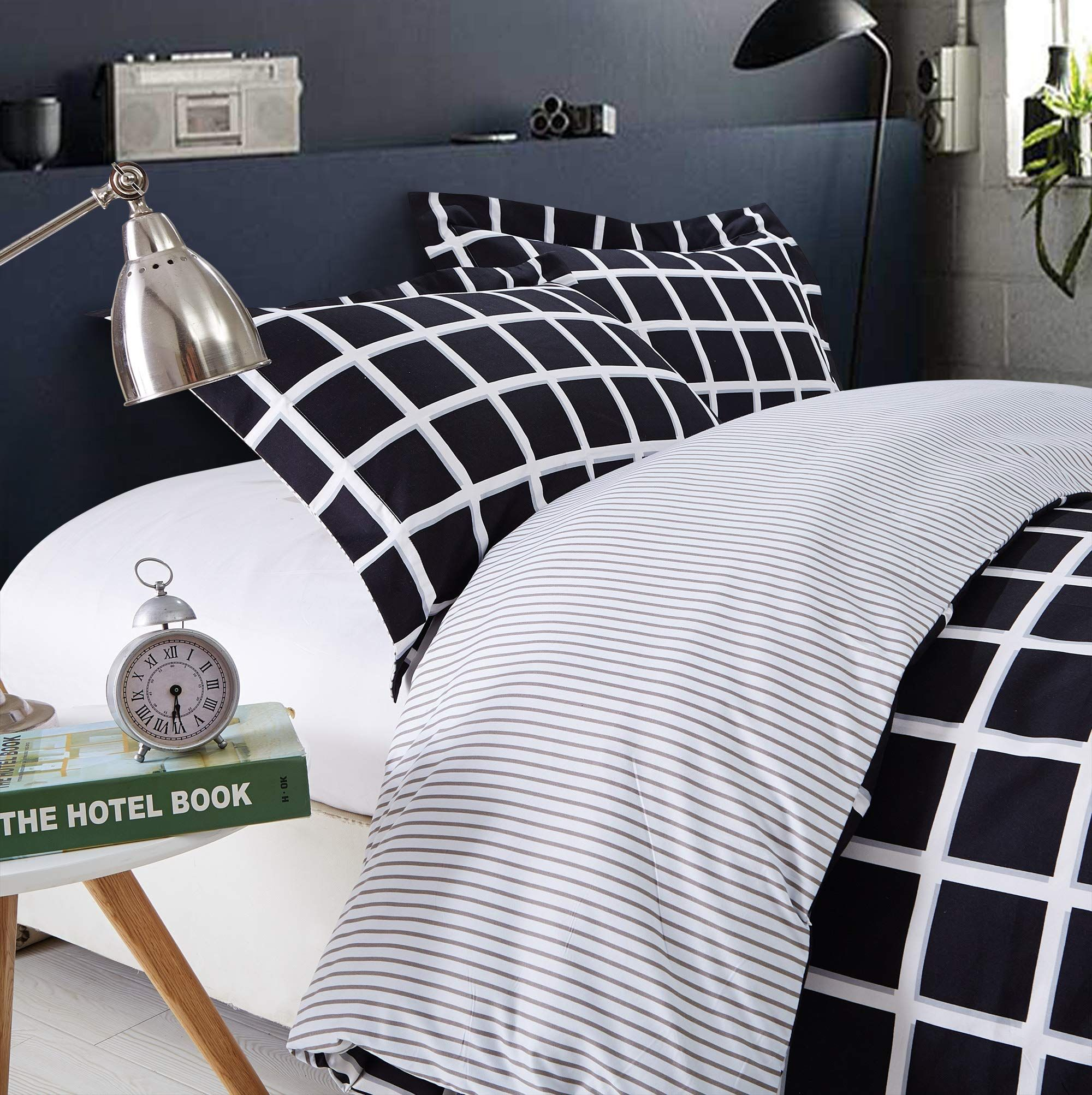 90bf18c434 Top Finel Queen Duvet Cover Bedding Set 2 Pillow Shams Breathable SuperSoft  Durable WrinkleResistant3PcsBlackWhiteandSquare >>> Want additional info?