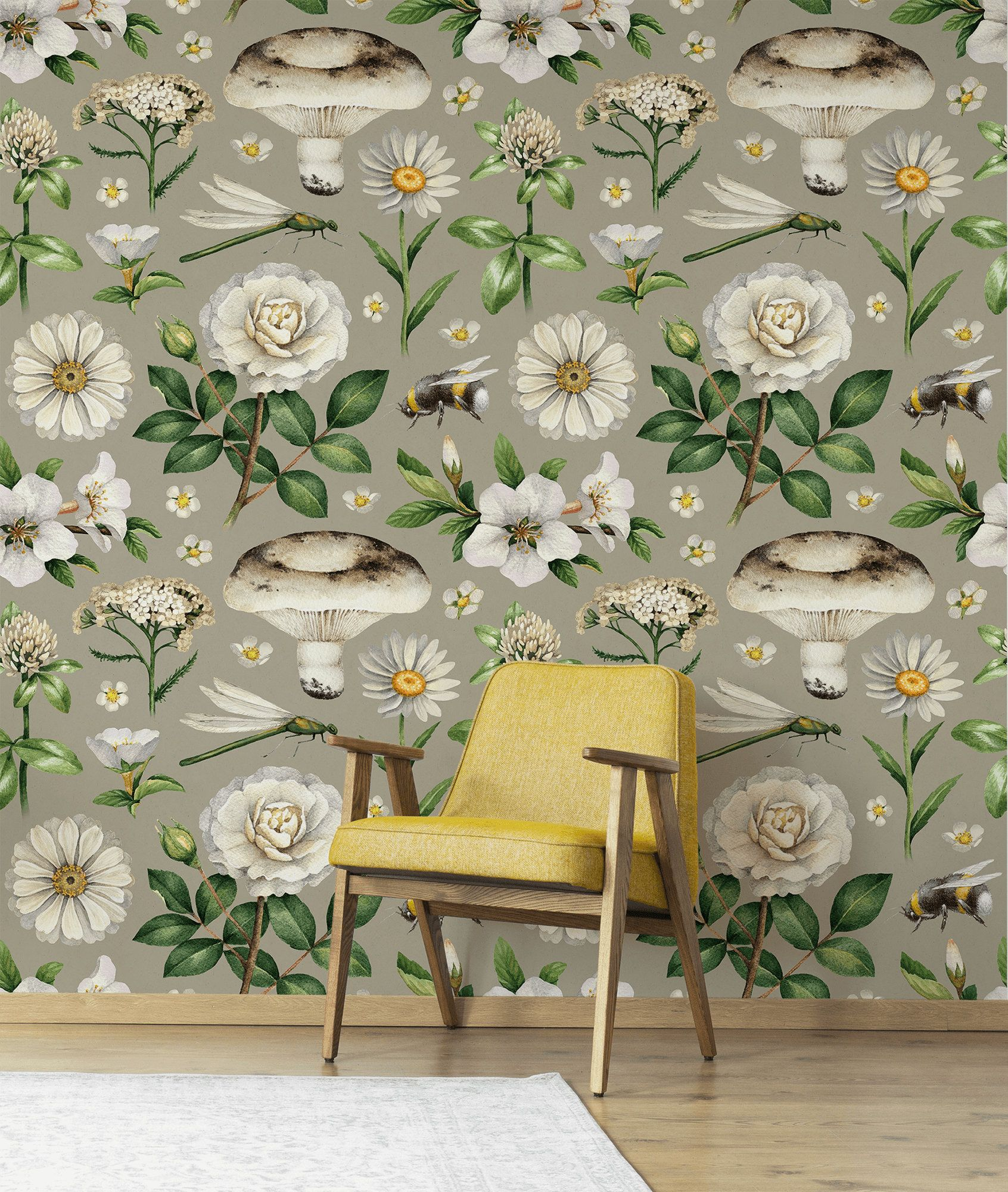 Retro Botanical Wallpaper Peel And Stick Wallpaper Etsy Retro Wallpaper Botanical Wallpaper Peel And Stick Wallpaper