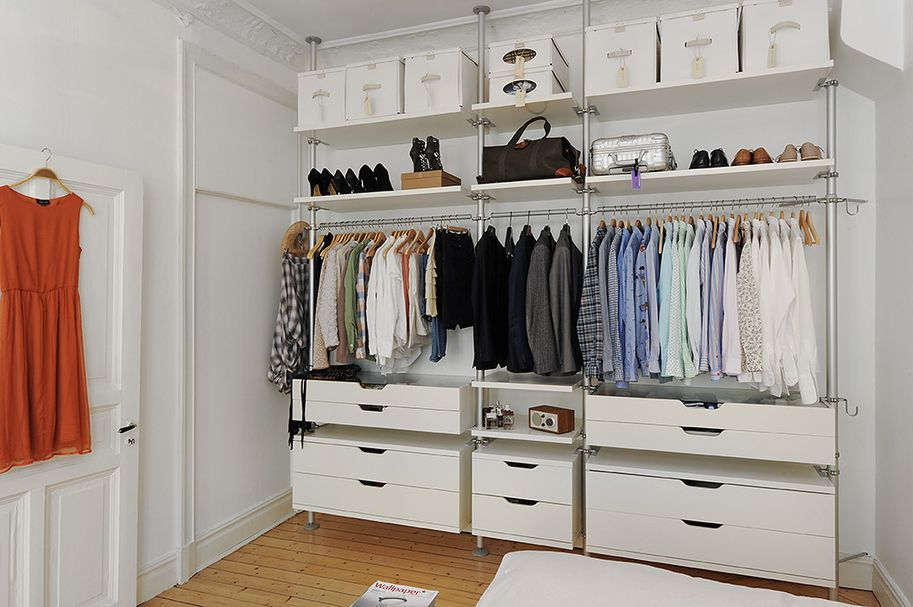 The Open Wardrobe Plan Ikea Stolmen With The Mirror Though Closet Bedroom Ikea Open Wardrobe Cheap Closet Systems