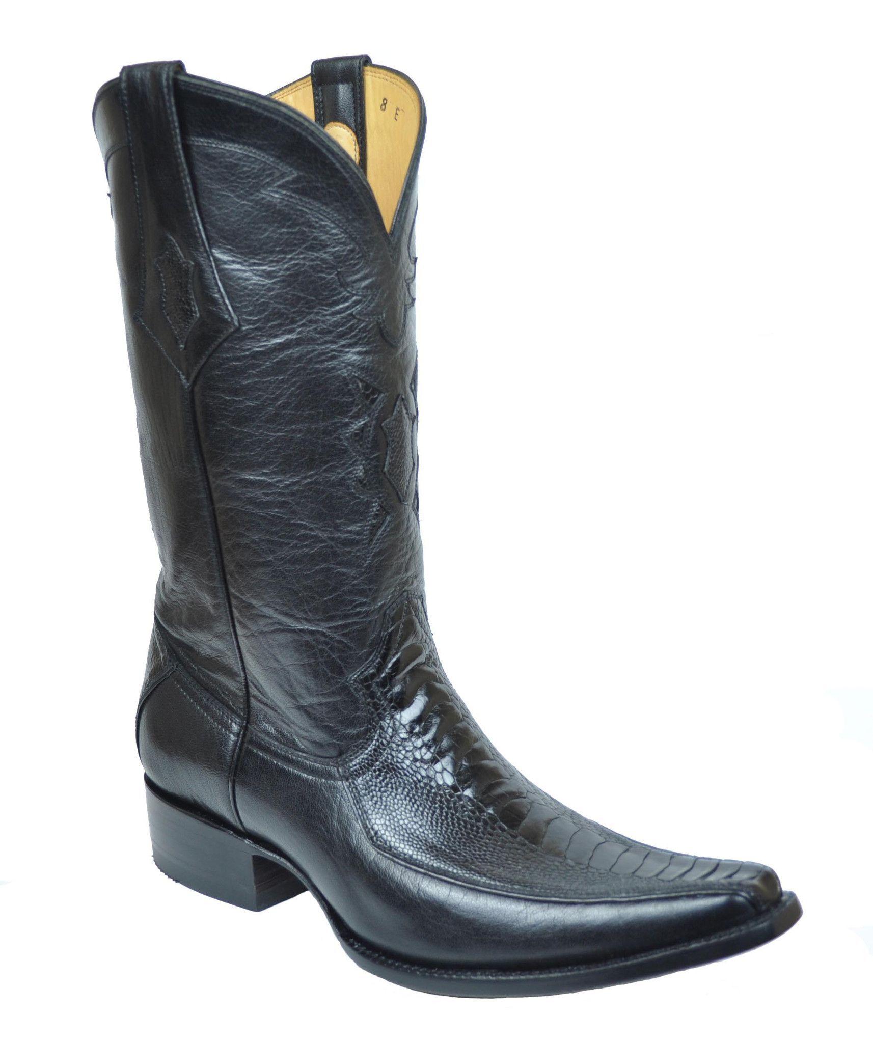 Spanish Square Toe Black Ostrich Leg