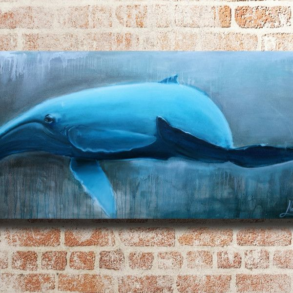 Coastal art, whale painting for your house