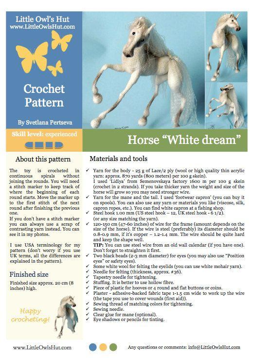 043 caballo blanco sueño con marco de alambre por LittleOwlsHut ...