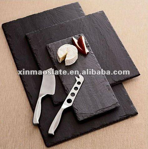 wholesale black oval slate stone fast food serving plates natural