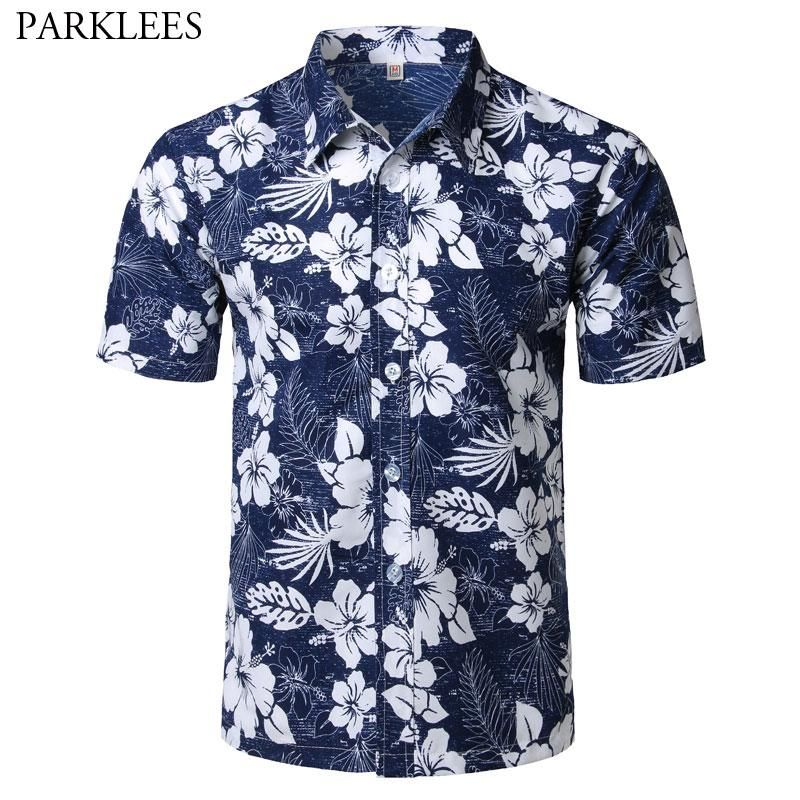 Mens Hipster Summer Short Sleeve Beach Hawaiian Shirt 2018 New Cotton Casual Floral Shirts Slim Fit