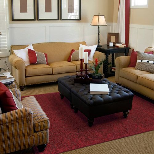Mohawk Home Solid Shag Area Rug In Red With Tan Couches