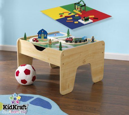 Amazon.com: KidKraft Lego Compatible 2 in 1 Activity Table: Toys ...