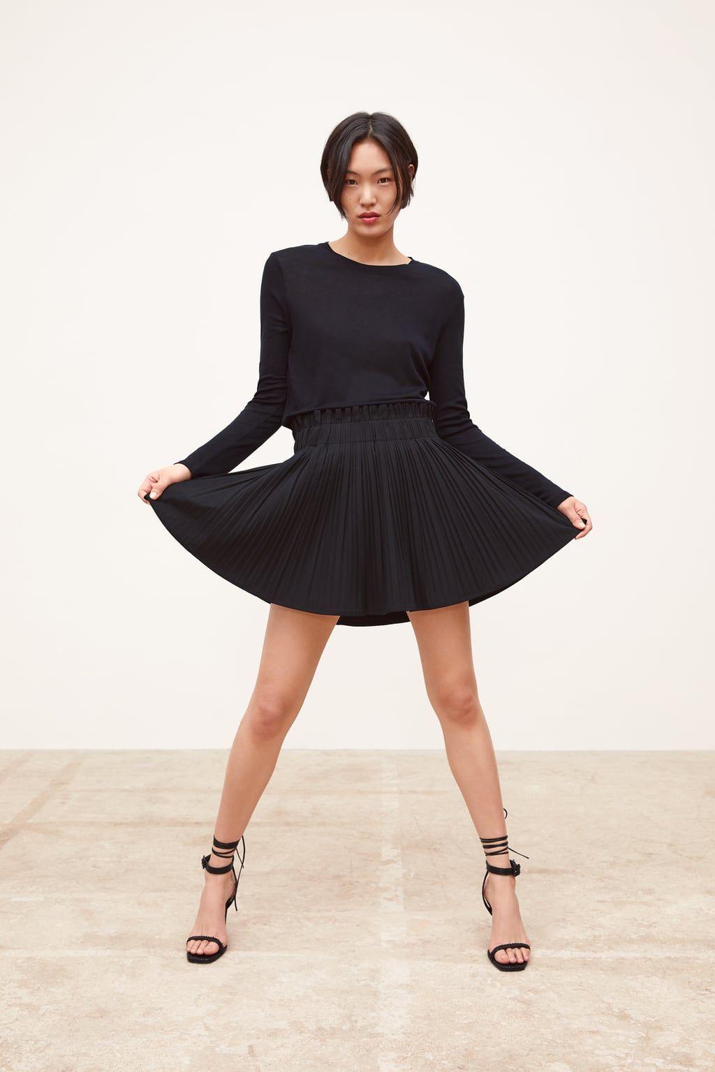 New Women Winter Miniskirt Stretchy Waist Pleated Skirt Faux Leather Short Dress