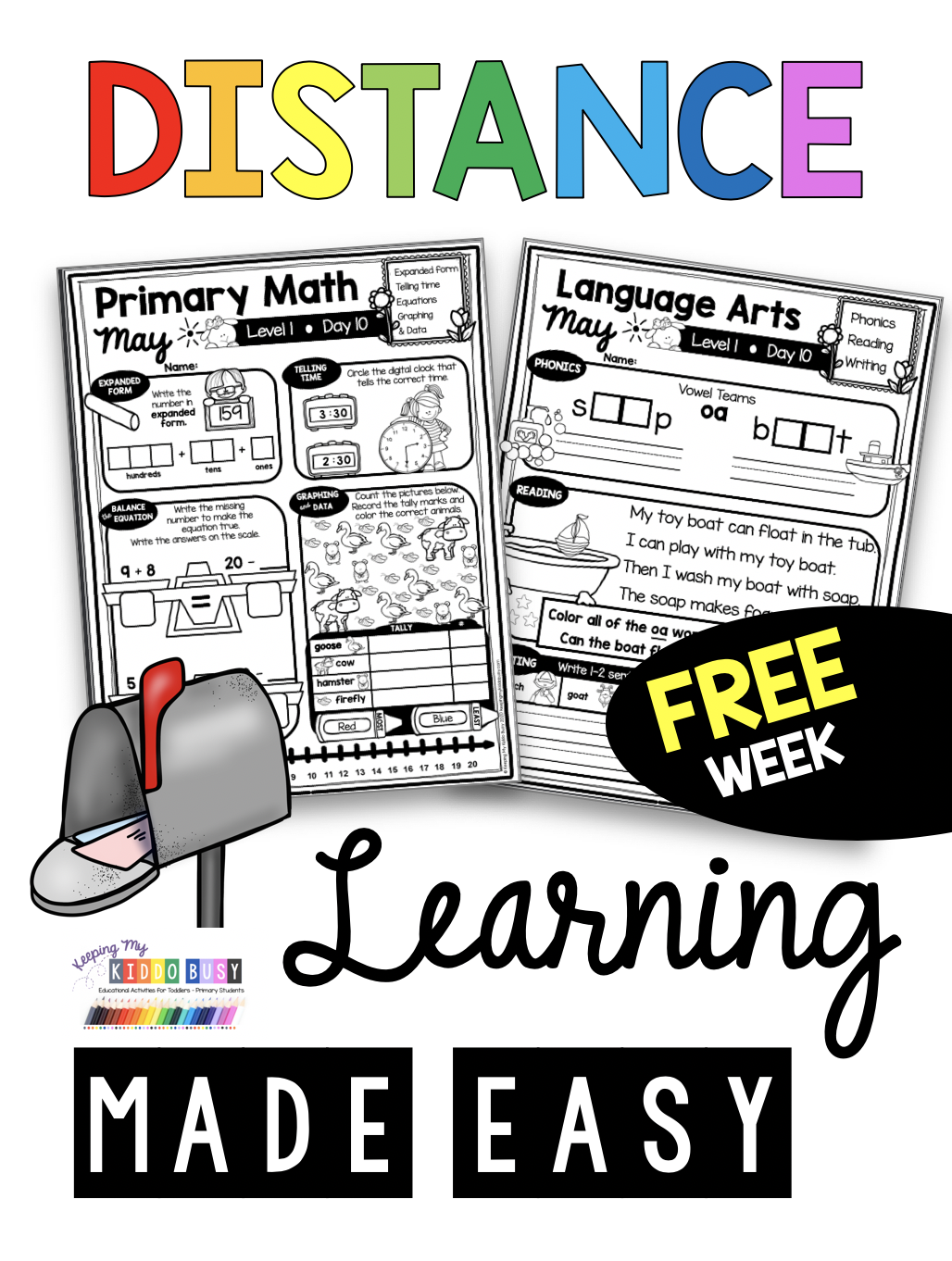 Free Learn At Home Pack For Kindergarten
