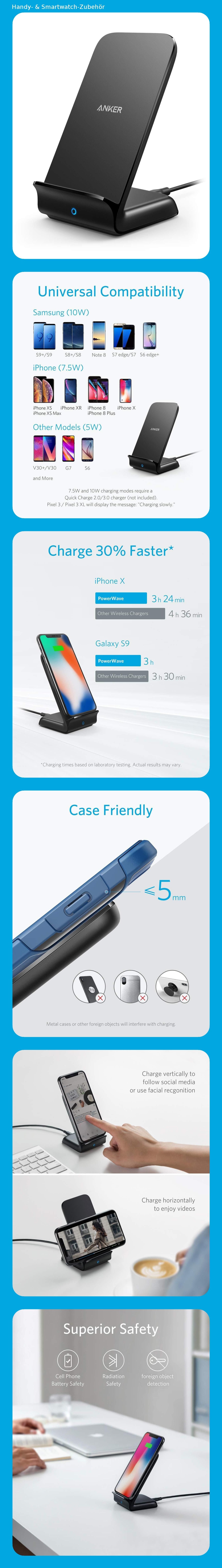 Anker Fast Wireless Charger Kabelloses Ladegerat Powerwave 7 5w 10w 5w Ladestander Fur Iphone Xs Max Xr Xs X Iphone 8 8 Plus Netzteile Samsung Iphone