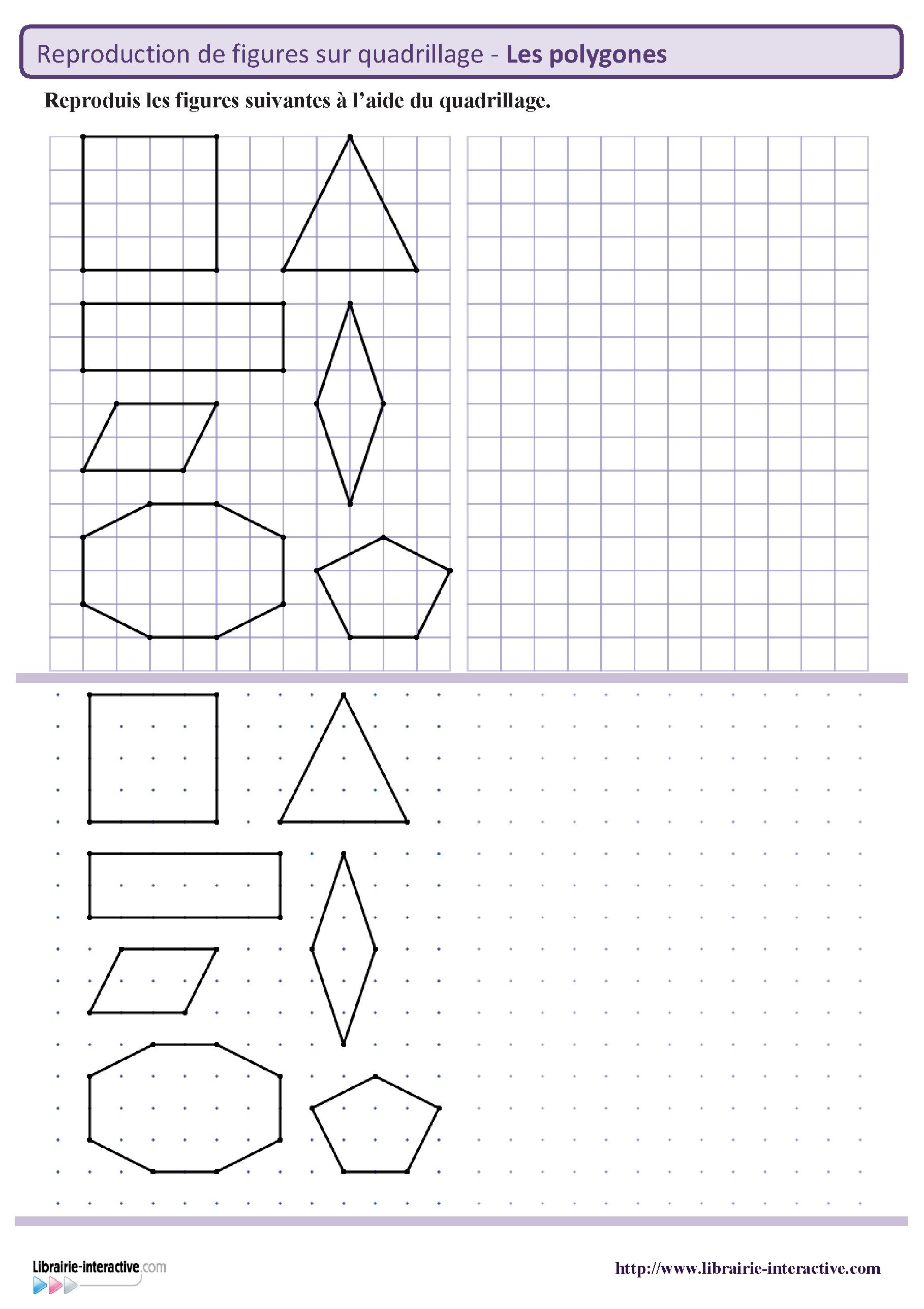 Reproduction des principaux polygones sur quadrillage et repère pointé. | Francais | Pinterest