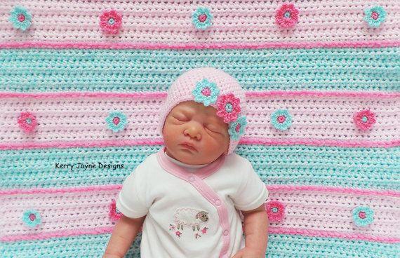 Daisy Stripes Set Crochet Pattern Crochet Baby Blanket Pattern